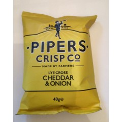 Pipers crisps cheddar&onion 40g