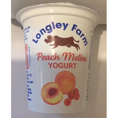 Longley farm 'peach Melba' yoghurt 150ml
