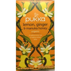 Pukka lemon, ginger and manuka honey 40g tea sachets
