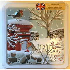 'Grandma wilds' assorted biscuits 160g Embossed robins in winter tin.