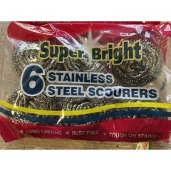 Stainless steel scourers pack of 6